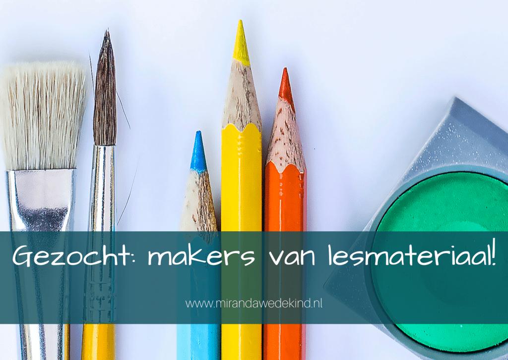 Gezocht: makers van lesmateriaal!  schooljaar 2021-2022